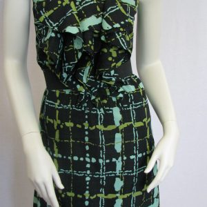 The Limited Black and Green Patterned Cocktail Dress