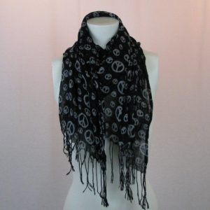 Unbranded Black & White Peace Sign Scarf